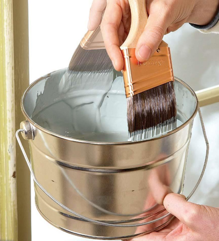 Don't wipe your brush after dipping - you'll remove too much paint. Rather dip bristles 5cm into the paint and slap the brush inside the paint tin to remove excess paint. In this way the brush will be loaded with the optimal amount of paint.
