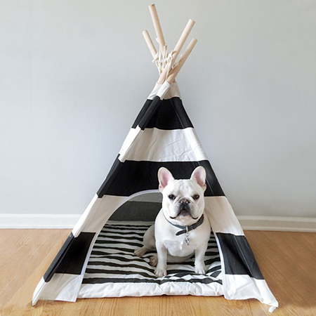Teepees are a wonderful idea for pet beds, and you can easily make your own using pine dowels and some colourful or patterned fabric, or order direct from Pipolli.