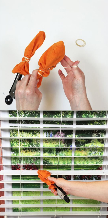 The Internet is a great source of ideas for everything, including great ways to clean vertical blinds. We found ideas for making your own blind cleaner with a pair of tongues and a couple of microfibre cloths, to using an old sock for wiping down the slats of vertical blinds. Plus, you can use this method to clean vertical blinds and shutters.