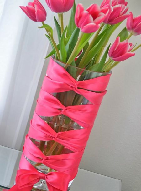 mothers day gift idea - ribbon wrapped glass vase