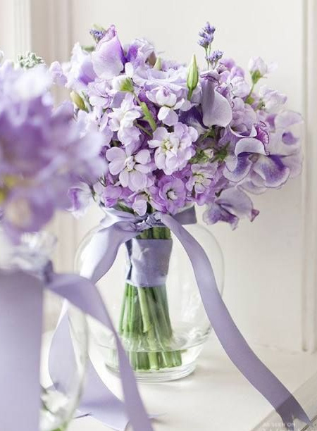 mothers day gift idea - lilac ribbon wrapped glass vase