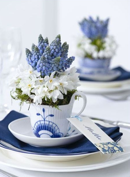 mothers day gift idea - teacup vase arrangement