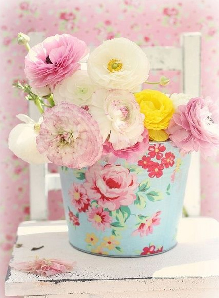 mothers day gift idea - fresh flowers in pastel painted galvanised bucket