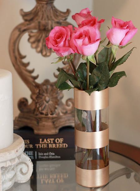 mothers day gift idea - rust-oleum metallic spray painted glass vase