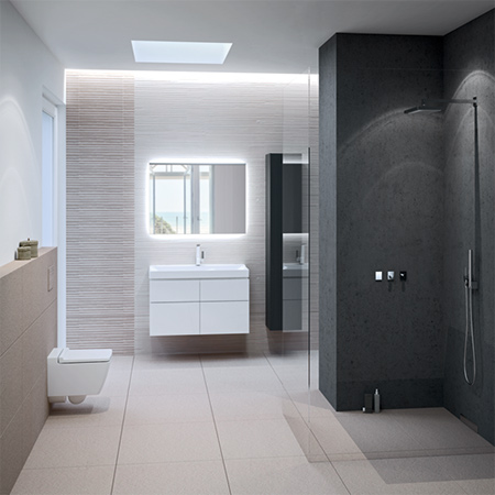 The Geberit Xeno2 bathroom series is synonymous with architectonic design minimalism. Clear geometric lines outside – soft, natural shapes in the inner basin.