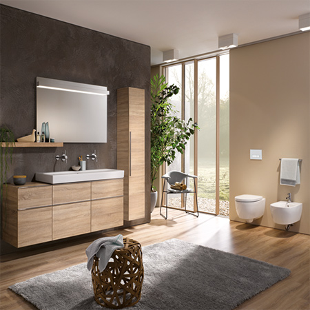 The Geberit iCon bathroom series has a clear, modern design. Featuring a linear design, the series offers an extensive range of ceramic appliances and bathroom furniture with the greatest possible creative freedom.