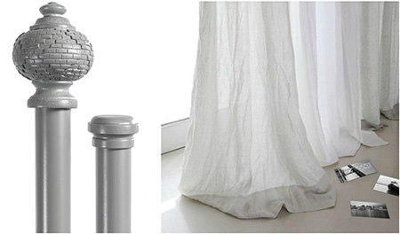 Current trendy products with a womanly trace is our 28mm Designer Pole range. We have different designer styles like the Crystal pole with a fancy flair, Grecian pole with an earthy and historical undertone or the Elegant twist pole and Sphere pole which is definitely a window décor classic. Together with all these pole sets, Finishing Touches also offers a matching tie back for every style just to end of the window decor perfectly.