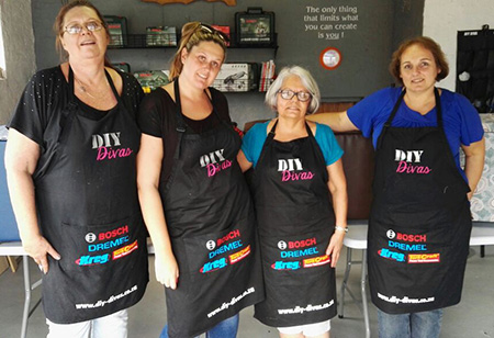 HOME-DZINE | DIY Divas - This weekend the DIY Divas in Durban were kitted out in their brand new aprons designed by workshop host, Ally Moir. DIY Divas in Durban KZN offer a wide variety of DIY and furniture making workshops