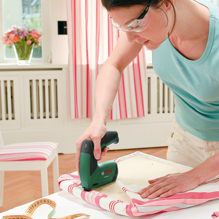 HOME-DZINE | DIY Furniture - If you love doing upholstery projects then the Bosch Tacker is a must-have tool. The lightweight, cordless staple gun takes all the strain and hard work out of upholstery. We use the Bosch Tacker at all our DIY Divas upholstery workshops and the ladies have found it easy to use.