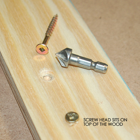 HOME-DZINE - DIY Tips - A countersink bit drills a hole that accepts the screw head and allows it to sit just below the surface of the wood or board product. Without a countersink hole, the screw head sits on top of the wood or board (shown above).