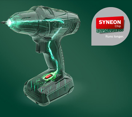 First and foremost, the Syneon Chip is an intelligent, electronic control system incorporated into Bosch cordless tools. This chip controls the ratio of current and voltage, which means tools perform at optimum power - even for demanding jobs. The Syneon Chip also prevents overheating and regulates current and voltage limits, increasing the lifetime of your Bosch tools.