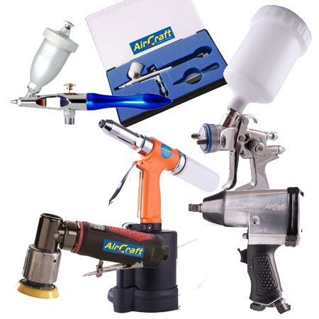 With a single compressor your can add to your pneumatic collection of tools: give your made furniture a professional finish with a spray gun attachment, or try your hand at airbrushing or sandblasting. There's also a sanding attachment, an air wrench and a riveter.