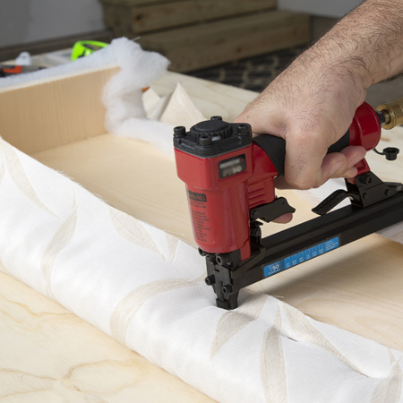 Use a pneumatic stapler for all your upholstery projects.