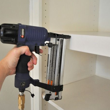 Use a brad gun to attach decorative edging, aprons and fronts to projects.