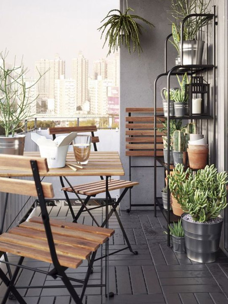 HOME-DZINE | Outdoor Rooms - Adding accessories is an affordable and easy way to make an outdoor space feel more personal and an extension of your indoor living area. And don't forget to introduce greenery. Balconies can be quite sterile if they don't overlook gardens - a few potted plants or small containers will make all the difference.