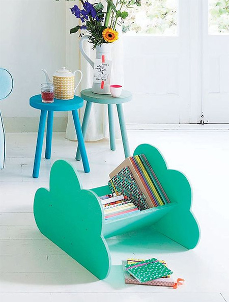 HOME-DZINE | Cloud Decor - Add even more cloud decor with a cloud book caddy. Simply cut out two cloud shaped side panels and pop into a couple of angled panels to create an easy cloud book caddy.