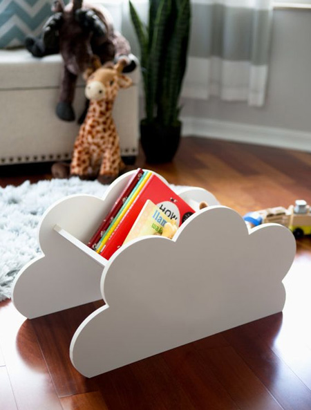 Here's a nifty - and easy - way to add clouds to a kids' bedroom in more ways than one - for fun!