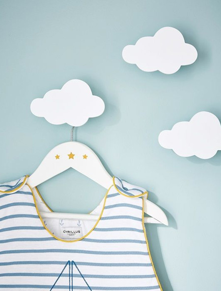 HOME-DZINE | Cloud Decor - Use clouds as wall hangers for a whimsical display for a nurser or toddlers' bedroom.