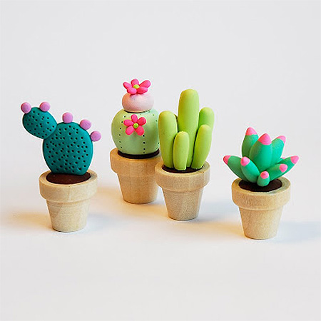 HOME-DZINE | Cactus craft ideas - Polymer clay and air-dry clay is another medium to use for crafting your own cute cactuses. We found some really cute polyner clay cactuses made by joojoo that would be perfect for displaying on a shelf or windowsill.