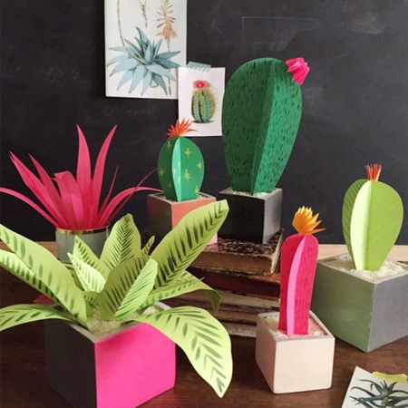 HOME-DZINE | Cactus craft ideas - Craft paper and card is another way to make a fun cactus display.