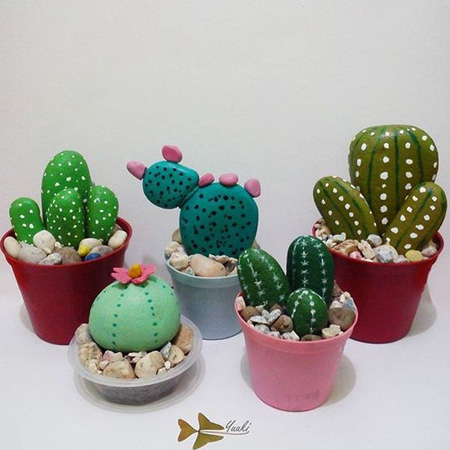 HOME-DZINE | Cactus craft ideas - And finally... collect pebbles from the garden or beach, in assorted shapes and sizes, to make a colourful painted cactus display that would add colour and interest to any windowsill.