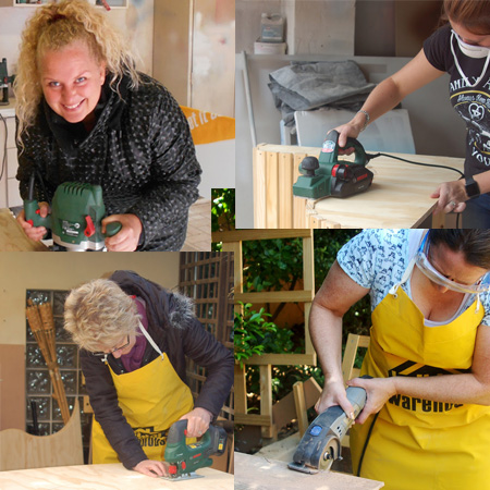 At the DIY Divas Intermediate Workshop you will have hands-on with a variety of power tools, and take home plenty of tips, tricks and techniques. Power tools discussed at this workshop include: Drill with hammer function, angle grinder, circular saw, Dremel DSM20, Kreg pockethole jig, biscuit joiner, mitre saw and more.