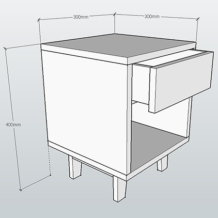Diagram - Mini Bedside Cabinets for tiny tots!