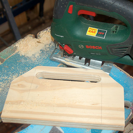 5. Cut out the hole for the handle with your jigsaw.