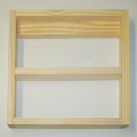 Make the cabinet / box frame section by gluing together the individual pieces as shown below.