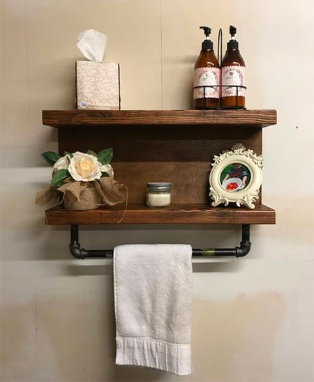 HOME-DZINE | Galvanized Pipe Projects - Use plywood and galvanised pipe and fittings to make this easy bathroom storage shelf.