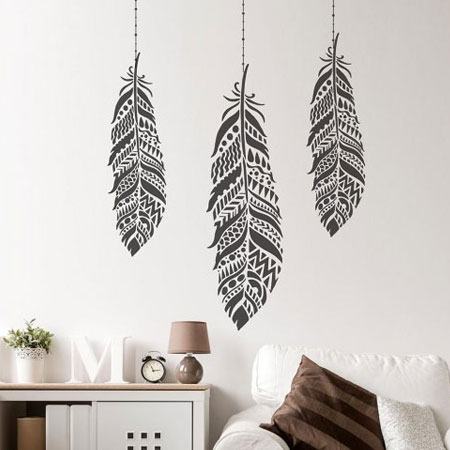 HOME-DZINE | Stencils - The Tribal Feather stencil is right on trend and can be used on both walls and furniture. The reusable Tribal Feather stencil can be painted in vibrant colours and is available in multiple sizes to fit any DIY project.