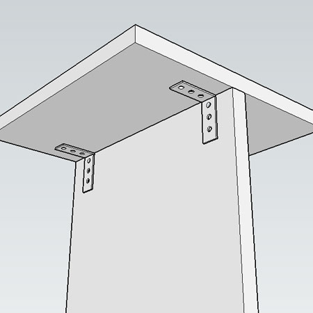 3. Use 'L' brackets and 16mm screws to secure the top to the vertical panel.