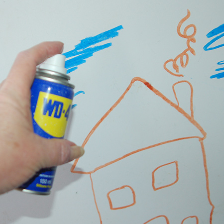 A can of WD-40 is a home staple and every home should have one! With over 2,000 uses, WD-40 is the most handy penetrating and water-displacing oil for home use. Use it to stop squeaks, drive out moisture, loosen rusted parts, free sticky mechanisms and... remove crayon from your painted walls.