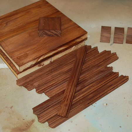 GOOD TO KNOW: In the instructions below I stained the pine sections and moulding strips (for the medium lantern) after assembly, but in hindsight it is far better to use Woodoc Gel Stain before you assemble.