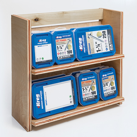 Now you can use Woodoc interior sealer to protect the wood and load up the organiser with screws or hardware to keep your work space organised and tidy.