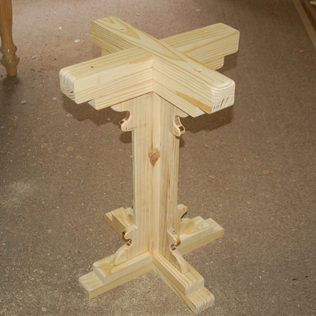 BELOW: How the finished pedestal leg should look once glued together.
