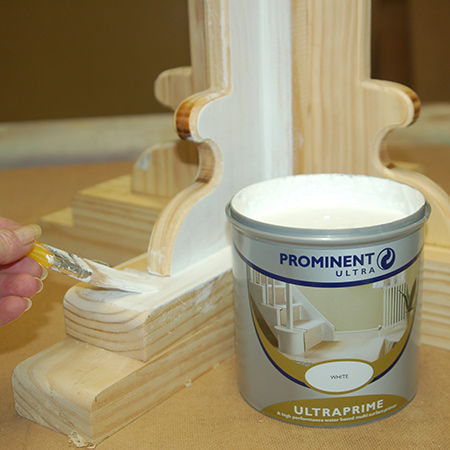 For the perfect finish I applied Prominent Paint UltraPrime Primer to the wood using a paintbrush. This quality primer blocks and seals the wood in preparation for painting.
