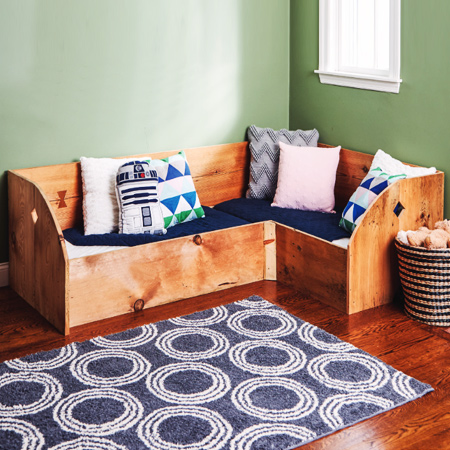Child's bed with reclaimed wood