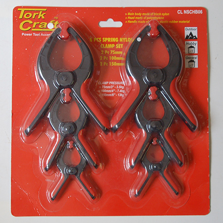 The Tork Craft 6pc Spring Clamp Set is ideal for all your smaller clamping projects, and you will find this at your local Builders or hardware store.