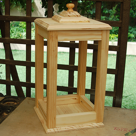 Completed large wooden lantern before staining and sealing.