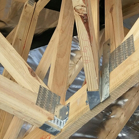Nailing details are often applied incorrectly at the perpendicular connections of jack trusses to girders at open hips or 90-degree infill hips