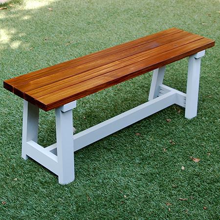 Home dzine home diy easy slat bench - Como hacer bancos de madera ...