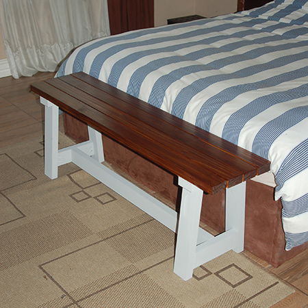 There are so many uses for our DIY slat bench. Place at the bottom of a bed as a place to sit while you dress.