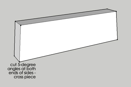4. Cut a 5-degree angle at the top and bottom of each leg, as shown above. Also, cut a 5-degree angle on both side rails, as shown below.