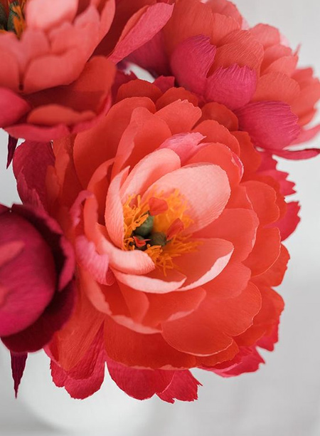 Peonies and Roses are the most popular designs for crepe paper flowers, and you can make your own bouquet in soft pastel or bold bright hues.