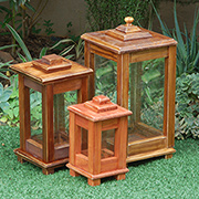 Wooden lantern for deck or patio