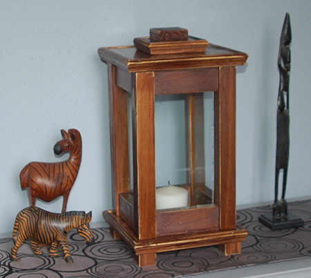 Home dzine home diy make a wooden lantern for deck or patio for Wooden garden lanterns
