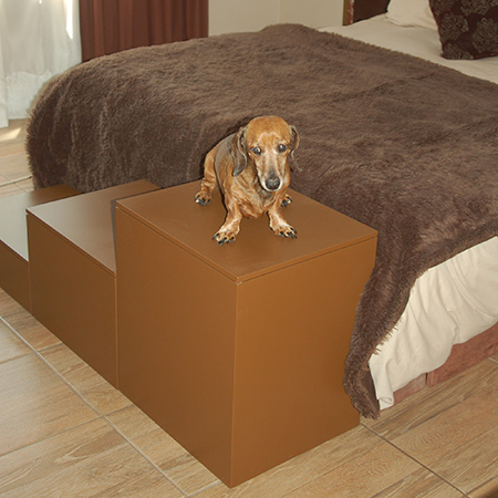 I have a pair of Dachshunds and one is getting on in age. To help them climb onto the bed I made a set of storage doggie steps.
