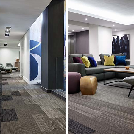 Monn Planc is a contemporary range of loose-lay tufted carpet tiles