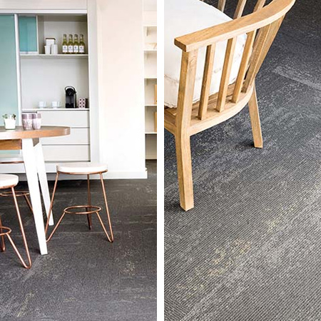 Monn Flux is a new-look contemporary range of loose-lay tufted carpet tiles